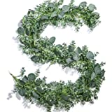 TOPHOUSE 2 Pack Artificial Eucalyptus Leaves Garland 6ft Fake Greenery Garland for Wedding Table Runner Garland Decor