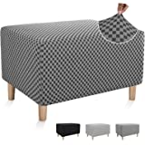 Chelzen Stretch Ottoman Slipcover Double-Color Linen-Like Square Rectangle Storage Ottoman Cover for Living Room Foot Rest St