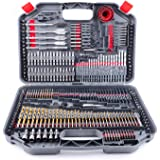 TOPEX 246PC Combination Drill Bit Set Screw Bits Titanium for Metal Wood Masonry