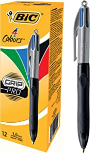 BIC 4 Colours Grip Pro Retractable Ball Pen Medium Point (1.0 mm) - Box of 12 Pens