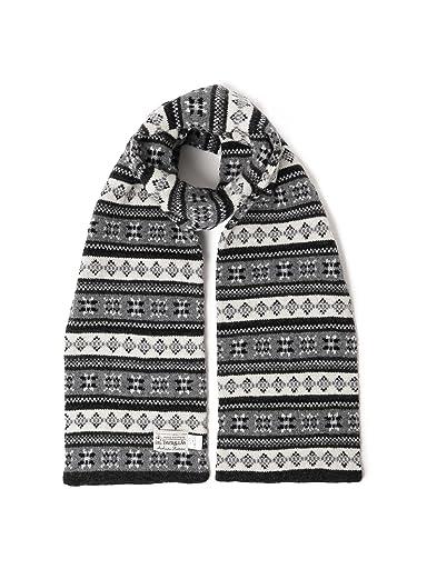 Wool Fairisle Scarf 11-45-0583-263: Charcoal