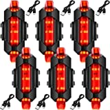 Mudder 6 Pieces Front and Rear Bicycle Light USB Rechargeable Bike Light Waterproof Cycling Headlight and Taillight Flashing