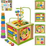 TOYVENTIVE Wooden Kids Baby Activity Cube - Girls Gift Set | 1st Birthday Gifts Toys for 1 One, 2 Year Old Girl | Development