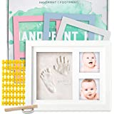 Baby Handprint Kit by Little Hippo! SPECIAL NO MOLD VERSION! Baby Picture Frame (WHITE) & Non Toxic CLAY! Baby Footprint kit