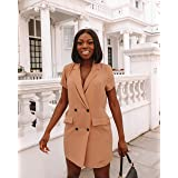 The Drop Women's Desert Taupe Cap Sleeve Double Breasted Suit Mini Dress by @thepatriciabright