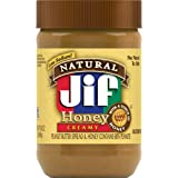 Jif Natural Creamy Peanut Butter with Honey, 16 Ounces, 7g (7% DV) of Protein per Serving, Smooth, Creamy Texture, No Stir Na