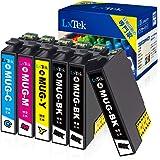 【LxTek】Epson用 エプソン MUG-4CL インクカートリッジ MUG 6本セット(4色セット+黒2本) マグカップ インク『互換インク/2年保証/大容量/説明書付/残量表示/個包装』対応機種: EW-452A EW-052A
