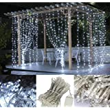 LED Curtain Lights, USB & Battery Powered LED Icicle Lights, 300 LEDs, 9.8ft x 9.8ft with 8 Modes Remote Controller for Holid