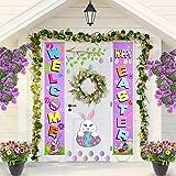 Blulu Easter Decoration Set Easter Porch Sign Welcome Happy Easter Banner Easter Poster Door Hanger for Spring Indoor/Outdoor