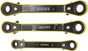 高儀 GISUKE ラチェットメガネレンチ 角度付 3本組