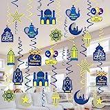 Tifeson Eid Mubarak Decorations Hanging Swirls - 36 Pcs Ramadan Mubarak Ceiling Foil Swirls for Eid Al-fitr Party Decorations