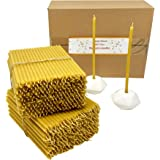 500 Votprof 100% Pure Beeswax Taper Candles ( 6 1/4) Natural Honey Scent