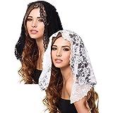 2 Pieces Floral Lace Veils Head Covering Latin Mass Mantilla Church Catholic Veils Short Scarf for Bridal Women