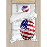 Ambesonne Sports Decor Duvet Cover Set, USA American Flag Printed Soccer Ball in a Net Goal Success Stylized Artwork, 2 Piece