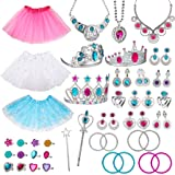 WATINC Princess Pretend Jewelry Toy Girl's Jewelry Dress Up Play Set Included Necklaces Earrings Adjustable Diamond Rings Cro