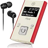 VQ Blighty DAB & DAB+ Pocket Digital Radio with FM, Headphones & USB Charge Cable Included – Red