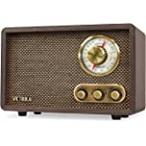 Victrola Retro Wood Bluetooth FM/AM Radio with Rotary Dial, Espresso