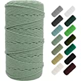 SUNTQ Macrame Cord 4-Strand Twisted (3mmx109yard) Cotton Rope for Handmade Plant Hanger, Wall Hanging Craft Making, Crafts, K