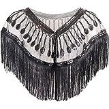 L'VOW Women's Glitter Sequin Metallic Evening Wrap Fringed Kimono Cover up Shawl Cardigan