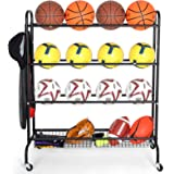 EXTCCT Basketball Rack, Rolling Sports Equipment Storage Cart, Four-Layer Organizer Stand for Basketballs Footballs Volleybal