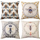 MeritChoice Bee Pillow Cover Bee Throw Pillow Case Home Decorative Double Print Square Cushion Cover Set of 4 Cotton Linen 18