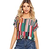 Milumia Women's Striped Colorblock Roll Up Short Sleeve Round Neck Blouses Shirt Tops