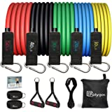 Polygon Resistance Bands Set, Exercise Tubes with Handles, Door Anchor and Ankle Straps - Stackable Up to 150 lbs - Workout B