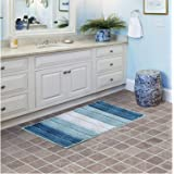 Winwinplus Bathroom Rugs Plush mat Polyester Microfiber Non-Slip,Soft,Absorbent and Machine, 20inch X 32inch, Blue &White Str