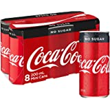 Coca-Cola No Sugar Soft Drink Mini Cans 8 x 200mL