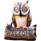 Solar Powered Owl On A Log with Welcome Sign Outdoor LED Garden Light Decor