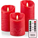 Set of 3 Realistic Flameless Grey LED Candles with Remote Control - 4'' 5'' 6'' Electric Wickless Pillar Battery Operated Can
