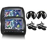 "Elinz 2x 9"" Black Touch Screen Car Headrest DVD Player Monitor Pillow 1080P 8 Bits Games USB SD MMC Card Slot Sony Lens Headp"