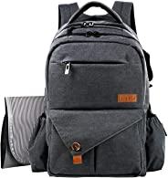 Hap Tim Multi Function Large Baby Diaper Bag Backpack W Stroller Straps Insulated Bottle Pockets Changing Pad Stylish & Durable (SG-5284-darkgray)