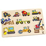 Hape Construction Site Kid's Wooden Toddler Peg Puzzle