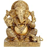 Hindu God Ganesha Brass Statue Religious Gifts for Mom Hinduism Decor 6.5 inch