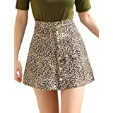 Allegra K Women's Faux Suede Button Closure A-Line High Waisted Flared Mini Short Skirt