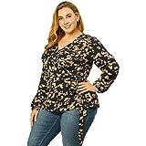 Agnes Orinda Women's Plus Size Blouse Chiffon Top V Neck Floral Wrap Blouses