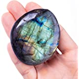 UFEEL Labradorite Palm Stone Crystal - Natural Chakra Reiki Polished Healing Pocket Worry Stone Crystals for Anxiety Stress R