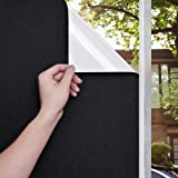 Blackout Window Film Sun Blocking Privacy Heat Control Frosted Static Cling Window Tint Covering Total 100% Light Blocking Re