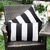 WESTERN HOME WH Outdoor Pillow Covers 12x20 Waterproof, Stripe Square Pillowcases Patio Throw Pillow Covers Cushions for Couc
