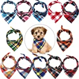 12 Pieces Dog Bandanas - Triangle Dog Scarf, Washable Reversible Printing, Bibs Dog Kerchief Set, Suitable for Small or Mediu