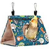 QX-Pet Supplies Winter Warm Bird Nest House Hanging Hammock Velvet Shed Hut Cage Plush Fluffy Birds Hideaway Sleeping Bed Fuz