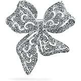 Victorian Vintage Style Winter Wedding Holiday White Glittering Crystal Bridal Fashion Large Statement Filigree Ribbon Bow Sc