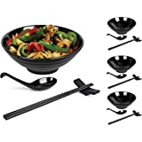 Annie's Kitchen 16 PC Restaurant Quality 33oz Large Melamine Ramen Bowls and Spoons Set Complete Dinnerware Set with Chopstic