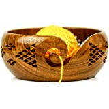 Premium Rosewood Crafted Yarn Storage Bowls with Decorative Carved Handmade Grills - Knitting & Crochet Accessories Supplies