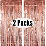 FECEDY 2pcs 3ft x 8.3ft Rose Gold Metallic Tinsel Foil Fringe Curtains Photo Booth Props for Birthday Wedding Engagement Brid