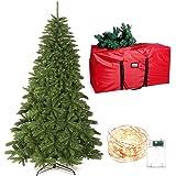 yazi クリスマスツリー 180CM 豪華1000枝 20メートル LEDイルミネーションライト付き 赤い防水収納袋付き おしゃれで存在感 クリスマス 飾り 頑丈な金属スタンド 組立簡単