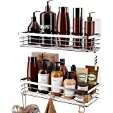 Orimade Bathroom Shelf with 5 Hooks for Hanging Razor and Sponge Shower Organizer Storage Kitchen Rack Adhesive No Drilling S
