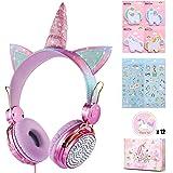 Unicorn Kids Headphones for Girls Children Teens, Wired Headphones for Kids with Adjustable Headband, 3.5mm Jack and Tangle-F