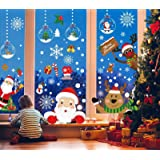 Christmas Window Clings, T Tersely 8 Sheets Christmas Window Stickers, Snowflake Snowman Santa Reindeer Window Stickers,Remov